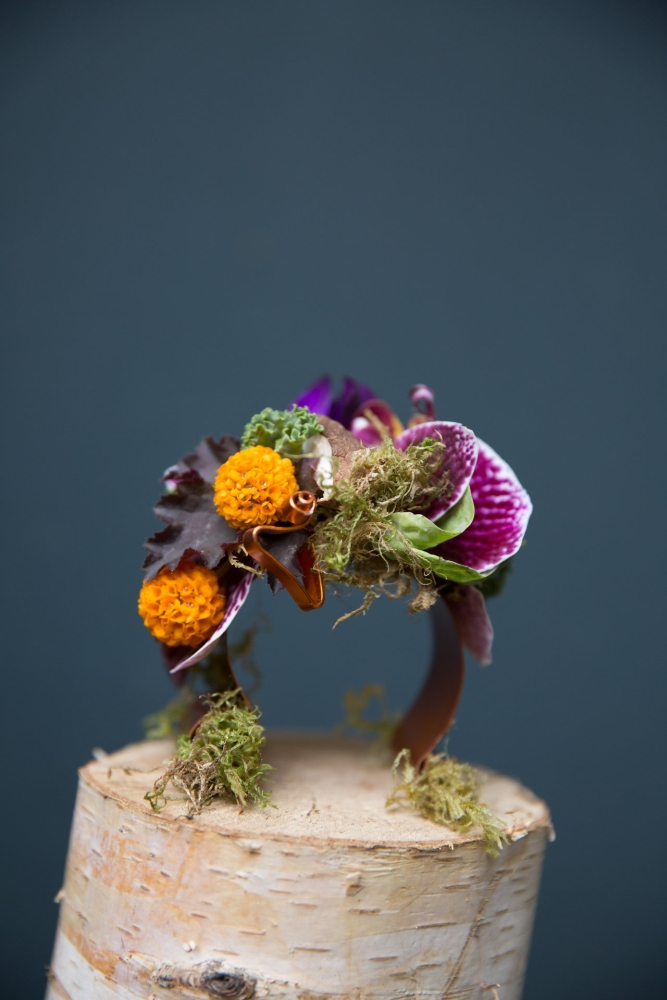 woodland-botanical couture in studio, Carrie's bracelet Francoise Weeks