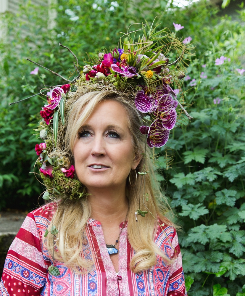 woodland-botanical couture in studio, Carrie's headpiece Francoise Weeks