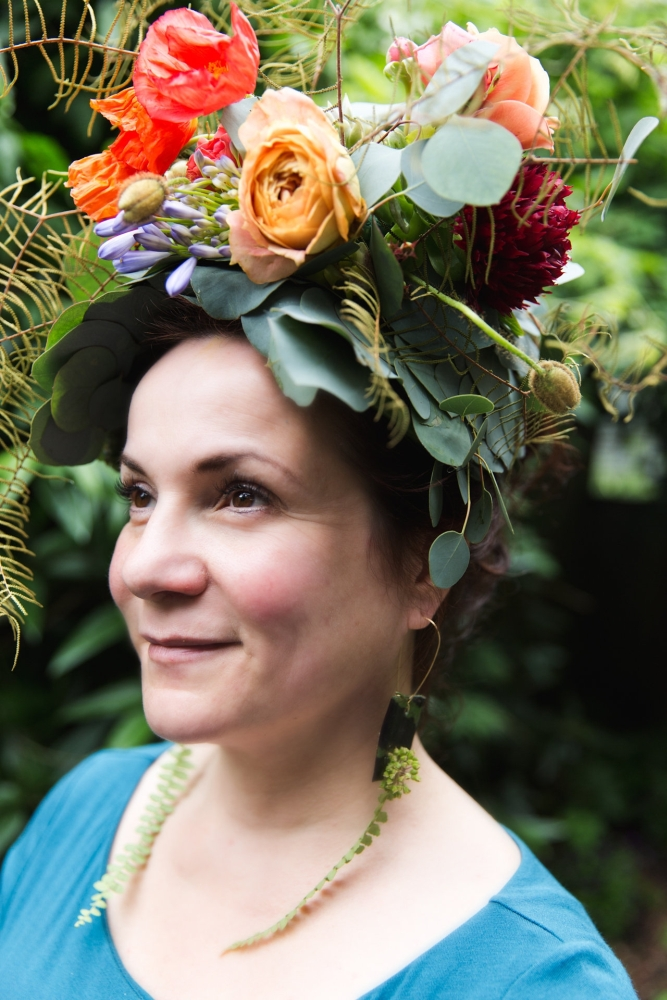 woodland-botanical couture in studio, Katalin's headpiece 1 Francoise Weeks