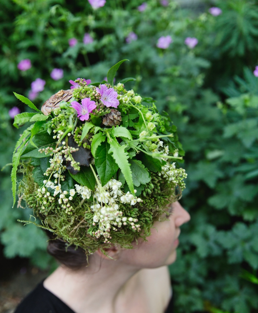 woodland-botanical couture in studio, McCausland's headpiece Francoise Weeks