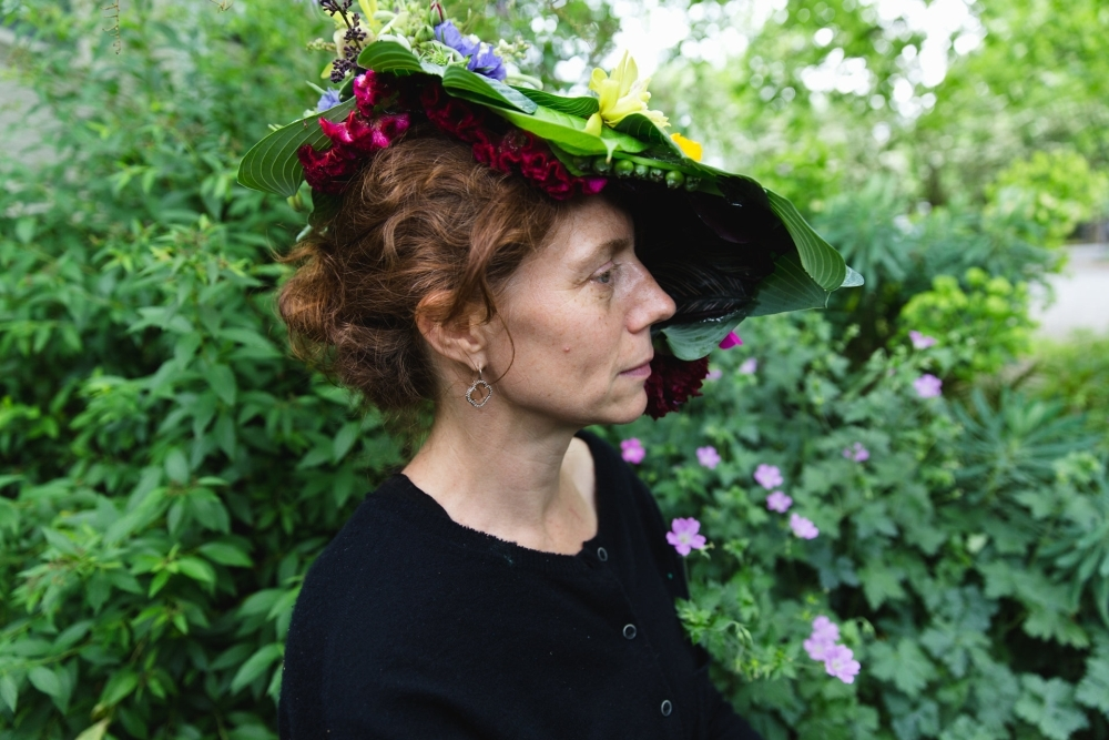 woodland-botanical couture in studio, Susan's headpiece 2, Francoise Weeks