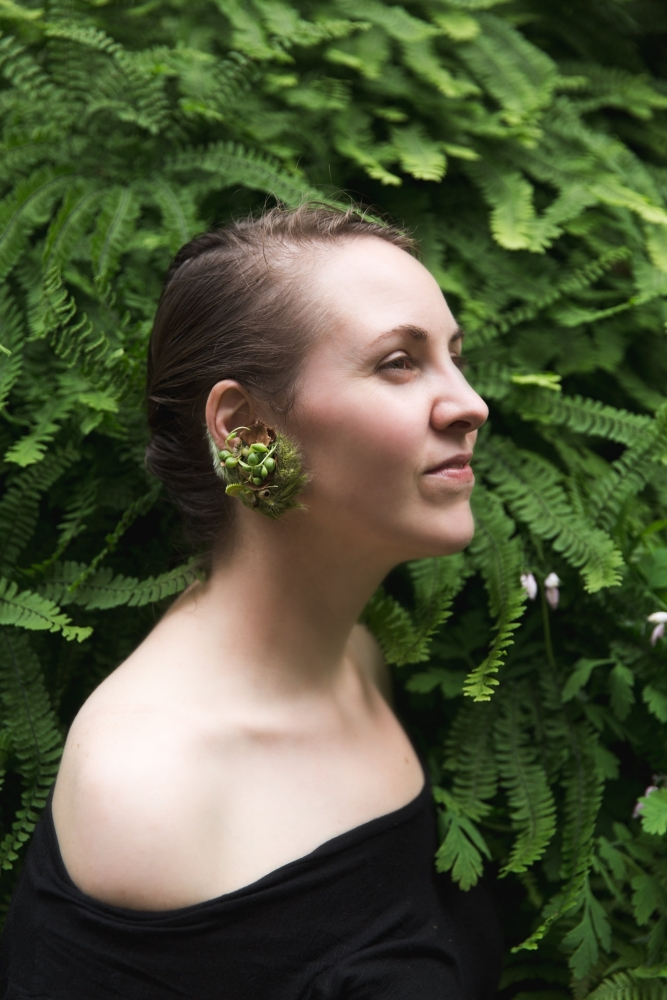 woodland-botanical couture in studio, earring by McCausland, Francoise Weeks