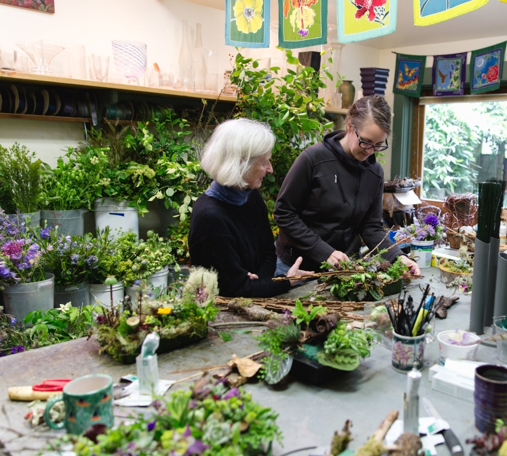 woodland-botanical couture workshop in studio Francoise Weeks