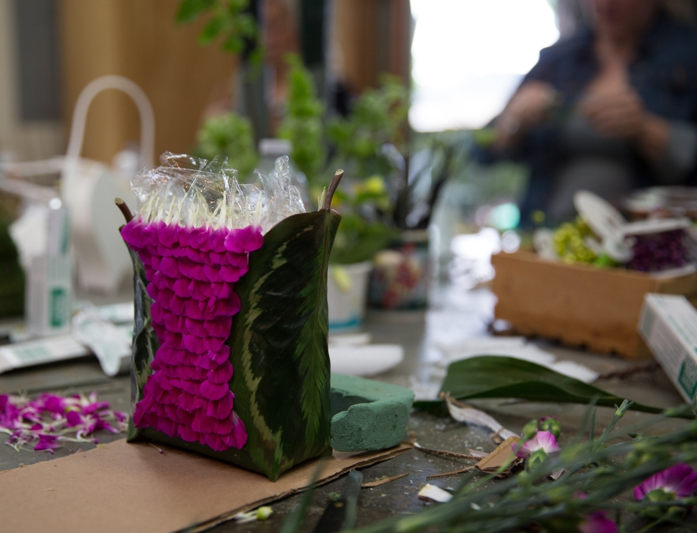 woodland-botanical couture workshop in the studio purse, design McCausland, Francoise Weeks