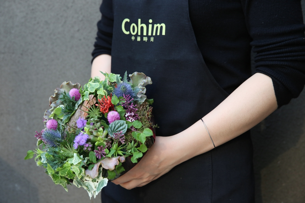 woodland bouquet designed by student, workshop at Cohim , April 2016