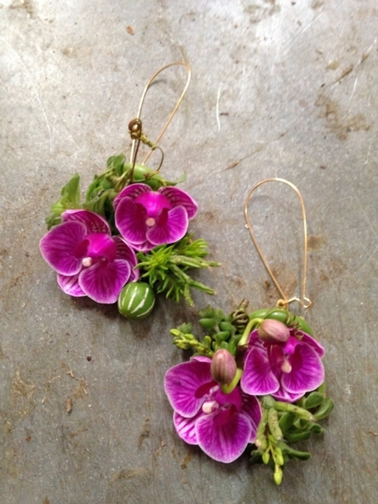 botanical earrings - with phalaenopsis orchids, succulents and cumis , Francoise Weeks