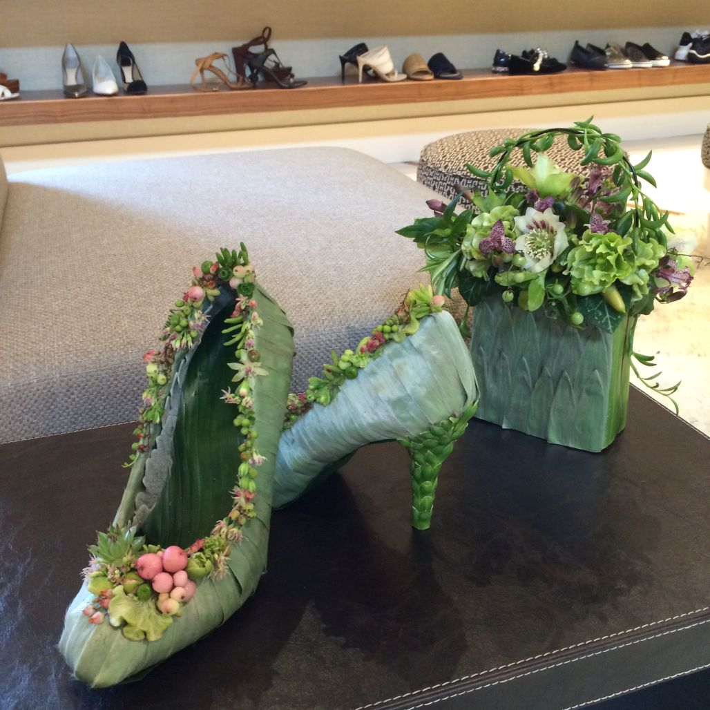 botanical shoes and purse for event in Chicago, Francoise Weeks