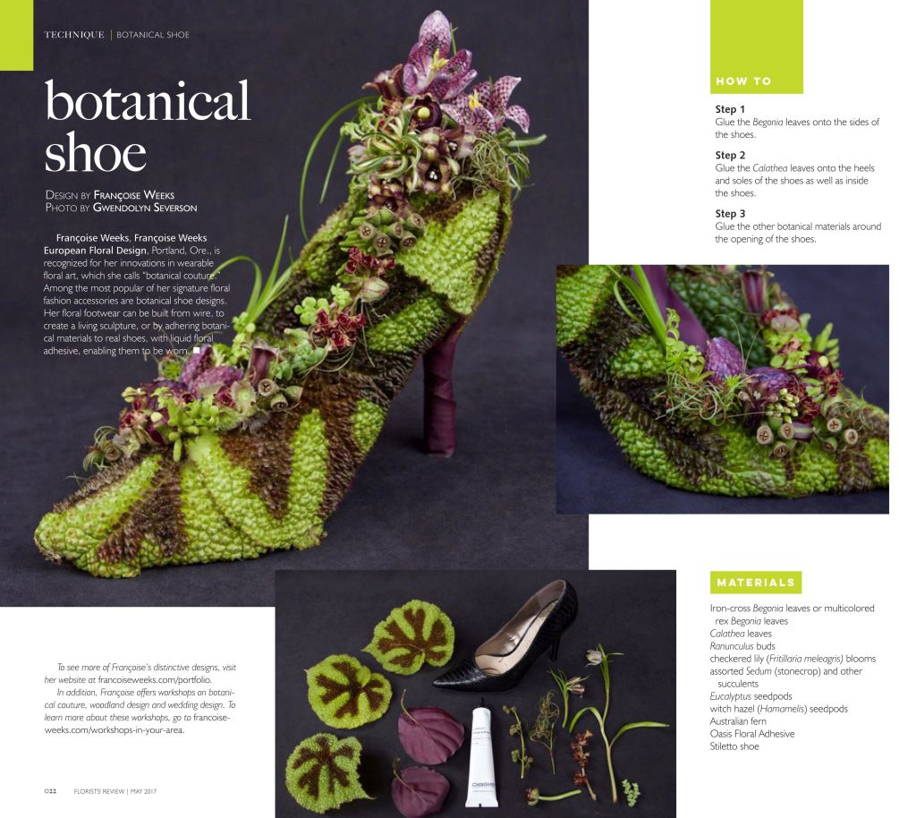 botanical shoe with begonia leavesm fritillaria and texture,Francoise Weeks
