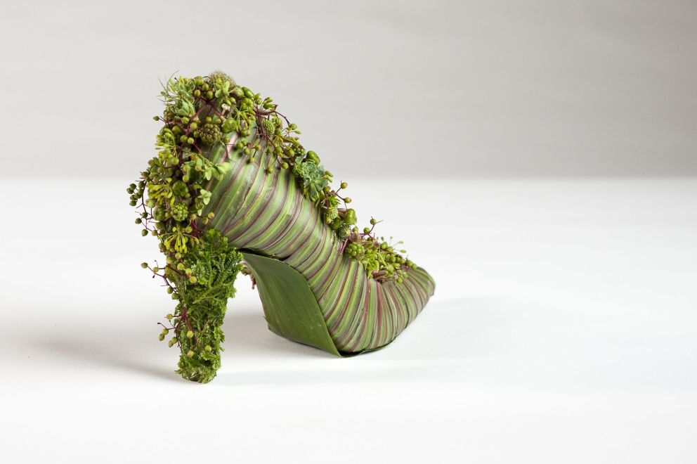botanical shoe with dracena leaves and texture,  backside,Francoise Weeks