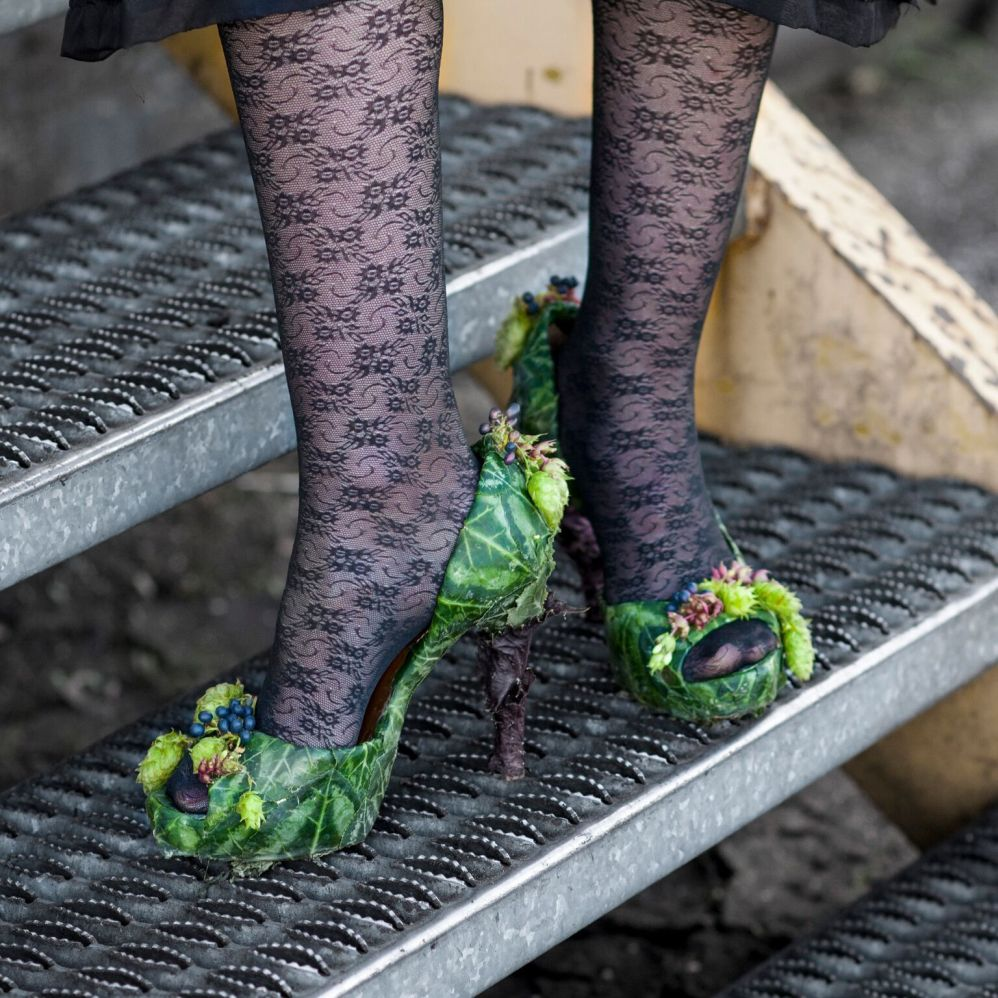 botanical shoes with cyclamen foliage, Francoise Weeks