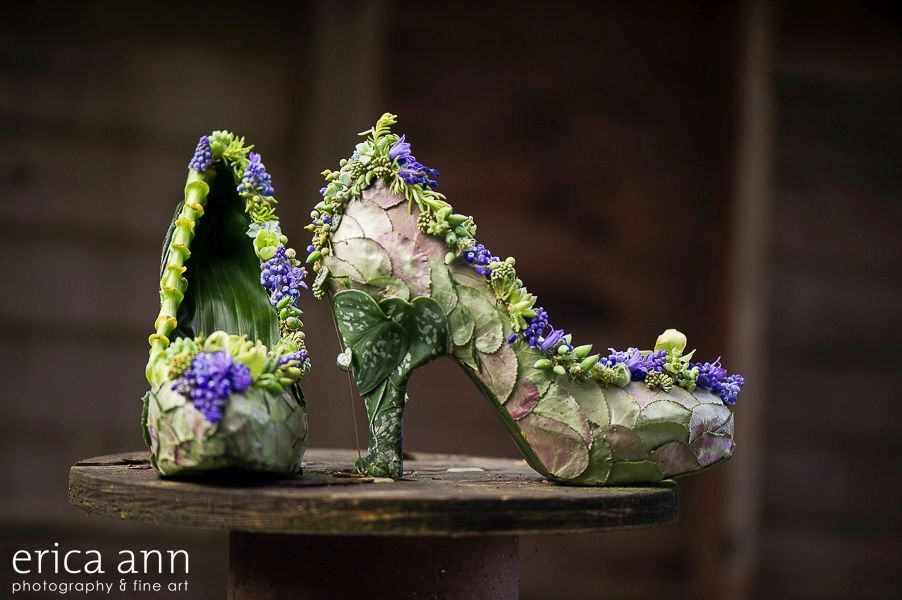 botanical shoes with cyclamen foliage, muscari and texture, Francoise Weeks
