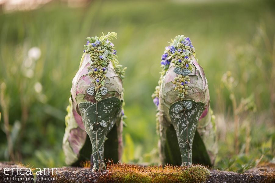 botanical shoes with cyclamen foliage, muscari and texture, backside Francoise Weeks