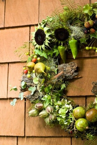woodland wreath with bark, texture and edibles, Françoise Weeks