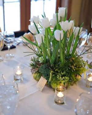 centerpiece, white tulips and texture in artichoke container, 28, Françoise Weeks